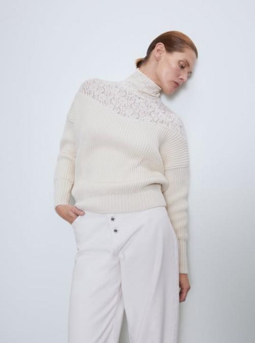 Zara - Pull côtelé détails dentelle