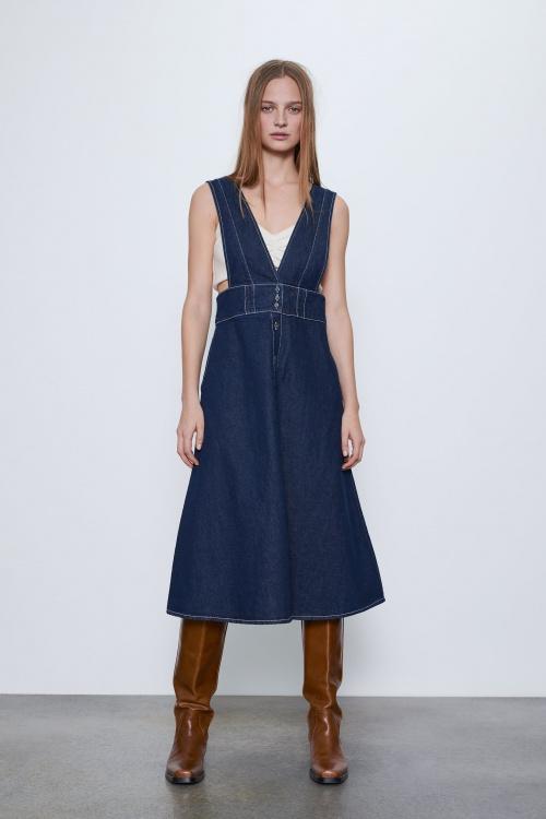 Zara - Robe salopette en jean