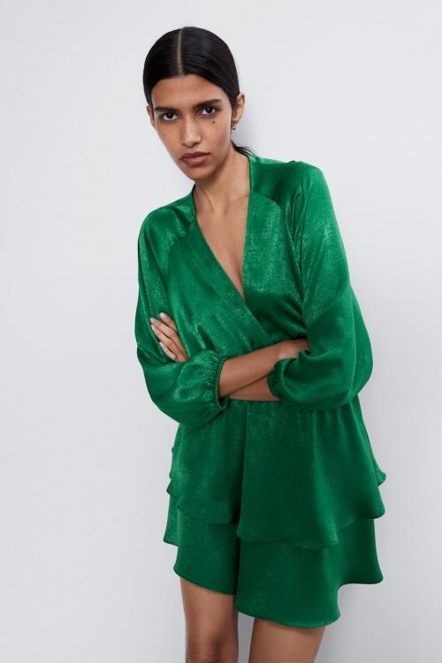 Zara - Robe satin verte