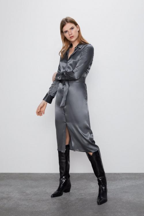 Zara - Robe satin chemise