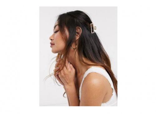 ASOS DESIGN - Barrette à rectangle évidé avec perles - Doré
