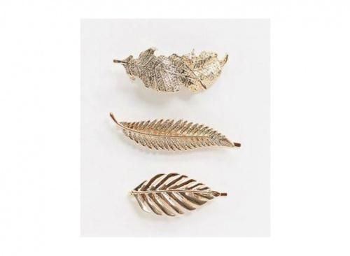 ASOS DESIGN - Lot de 3 barrettes en forme de feuilles - Doré