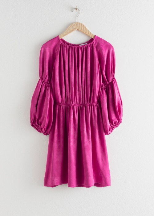 &Otherstories - Robe satin à manches bouffantes