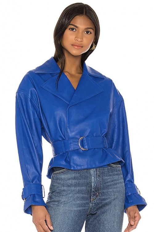 Song Of Style - Blouson en cuir bleu