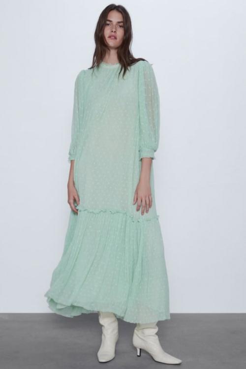 Zara - Robe longue plumetis