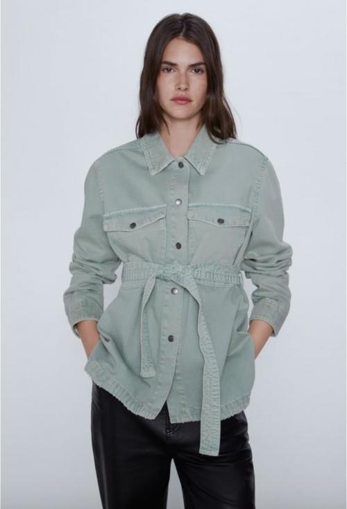 Zara - Veste en jean ceinturée