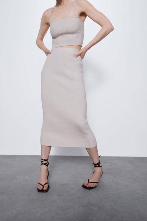 Zara - Jupe maille côtelée