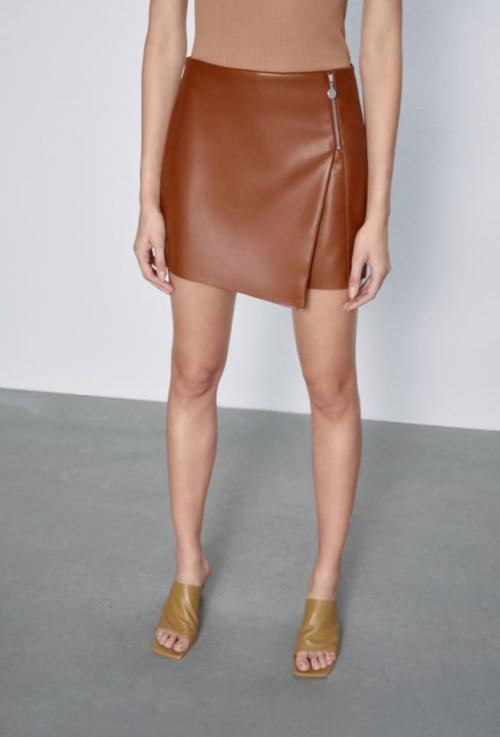 Zara - Jupe-short simili cuir