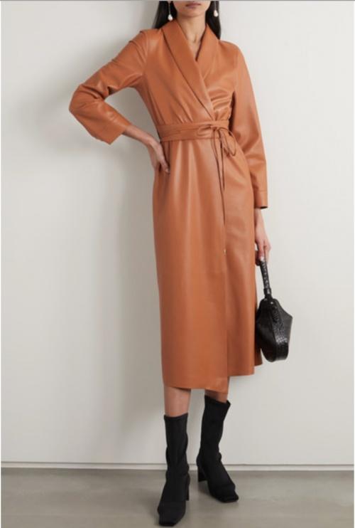Nanushka - Robe portefeuille simili cuir