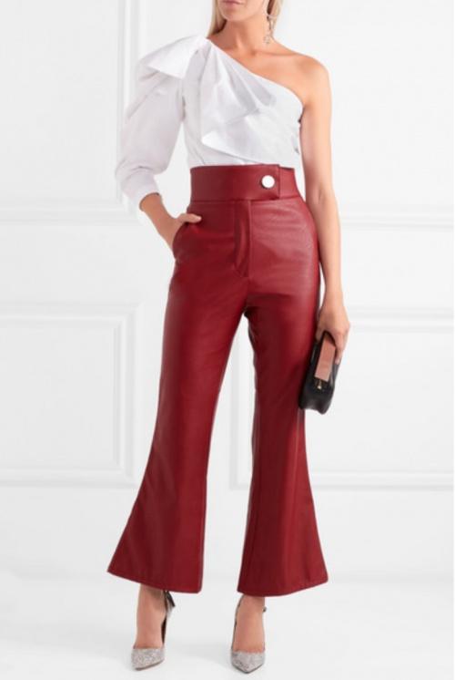 Sara Battaglia - Pantalon simili cuir