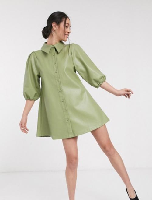 Ghospell - Robe chemise simili cuir