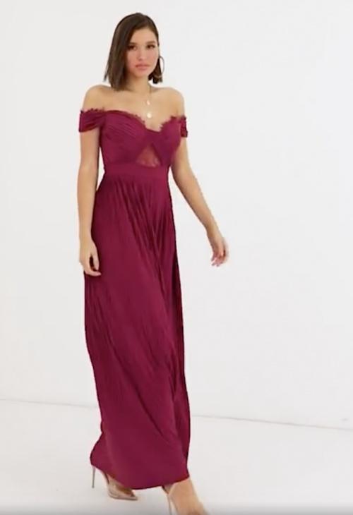 Asos Design - Robe longue Bardot plissée