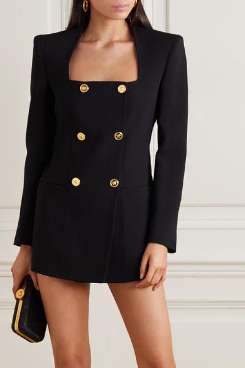 Versace - Robe noire avec boutons or