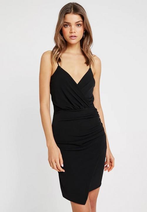 Missguided - Petite robe noir wrap