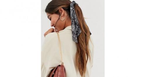 Asos - Foulard pour cheveux imprimé bandana - Noir