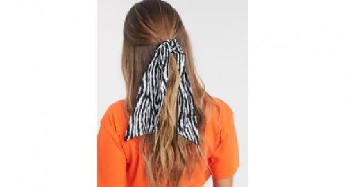 Asos -Foulard pour cheveux à imprimé zèbre abstrait