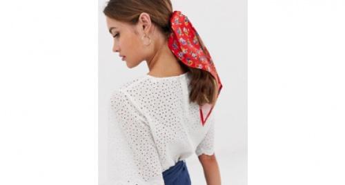 Asos - Foulard à petites fleurs - Rouge