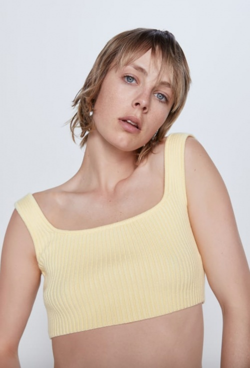 Zara - Top court maille pastel