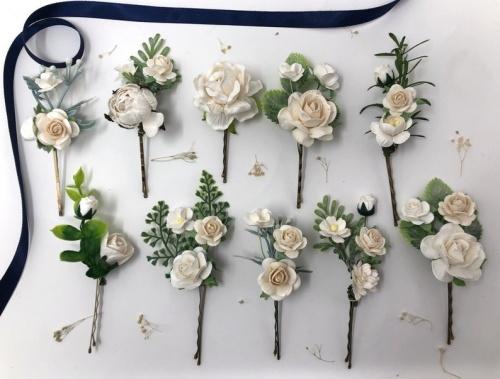 Etsy - Épingles de cheveux de fleur blanches et ivoire
