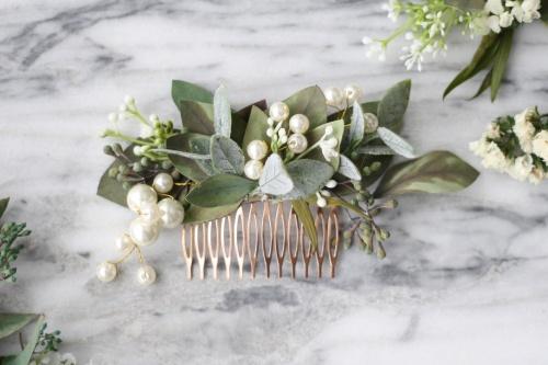 Etsy - eucalyptus pearl bridal comb
