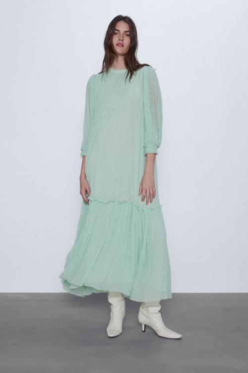 Zara - Robe longue en plumetis