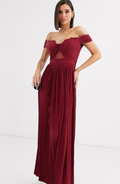 Asos Design - Robe longue Bardot