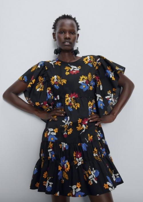 Zara - Robe en popeline imprimée