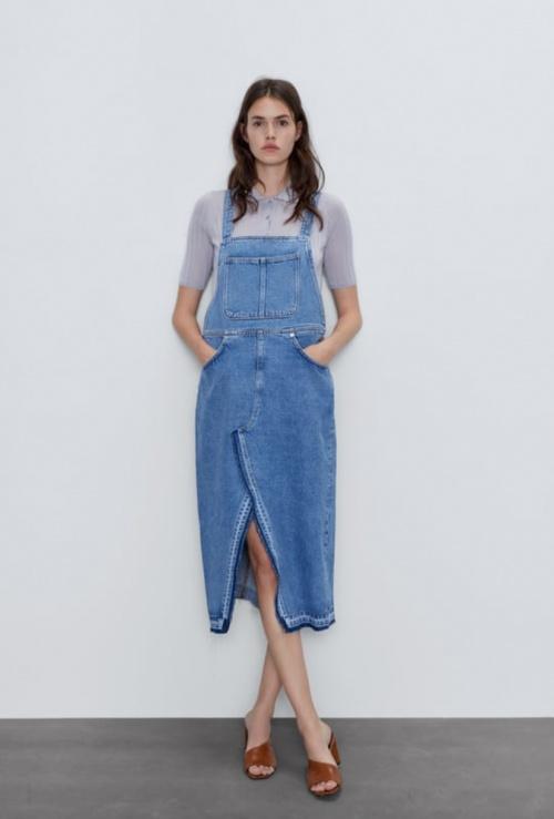 Zara - Robe-salopette en jean