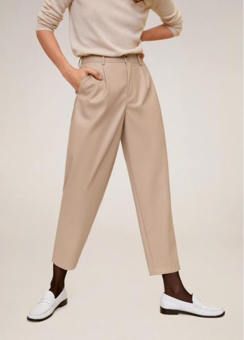 Mango - Pantalon simili cuir