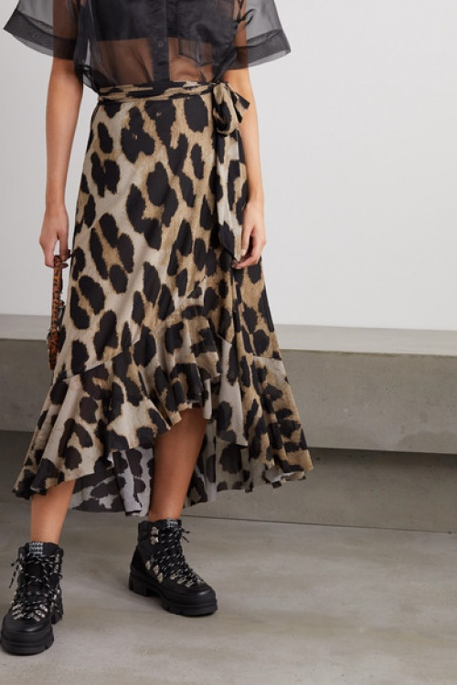 GANNI - Jupe midi léopard