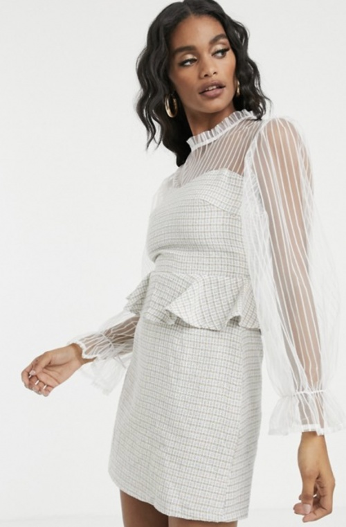 Missguided - Robe en tweed et tulle