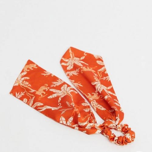 ASOS DESIGN - Foulard à cheveux avec imprimé palmier et léopard - Orange