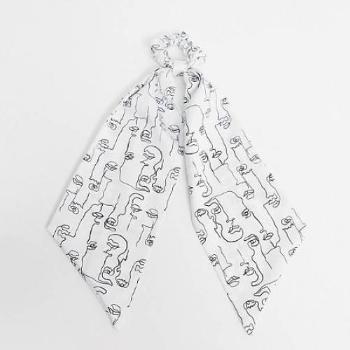 ASOS DESIGN - Foulard motif visage - Noir et blanc