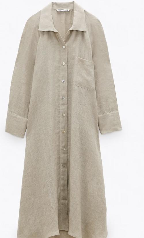 Zara - Robe chemise en lin