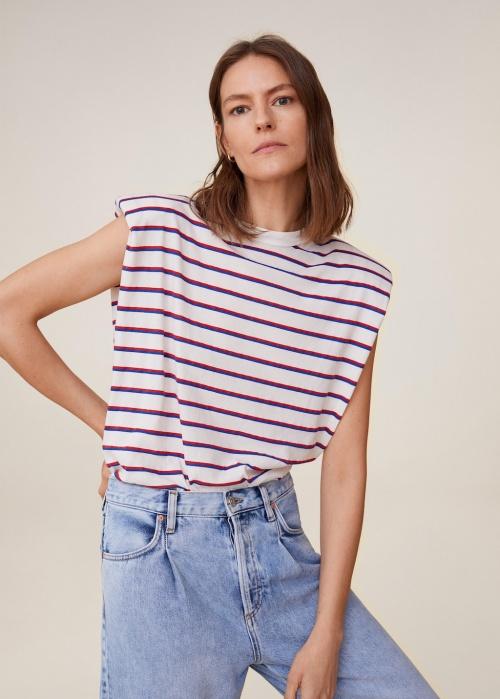 Mango - T-shirt à épaulettes