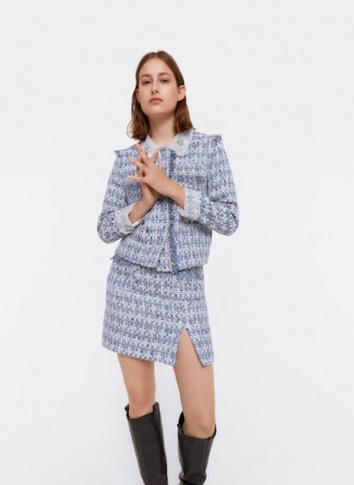 Uterqüe - Mini jupe effilochée