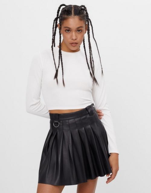 Bershka - Mini jupe en similicuir