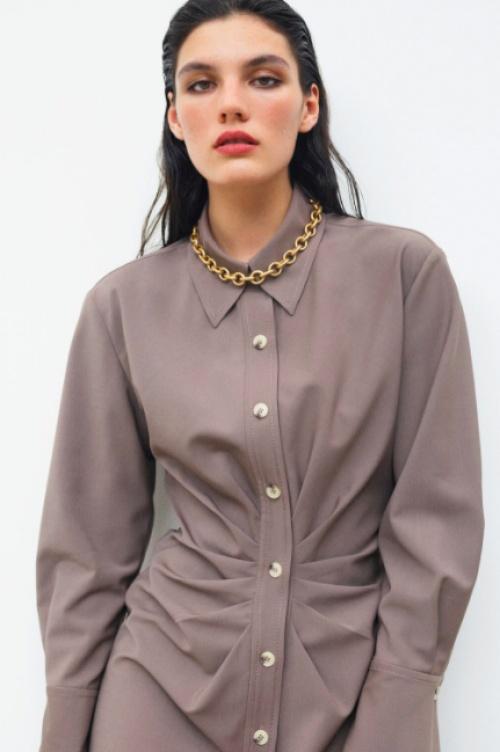 Zara - Robe chemise drapée