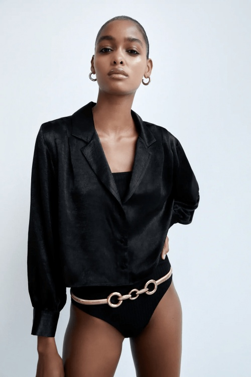 Zara - Chemise courte satin