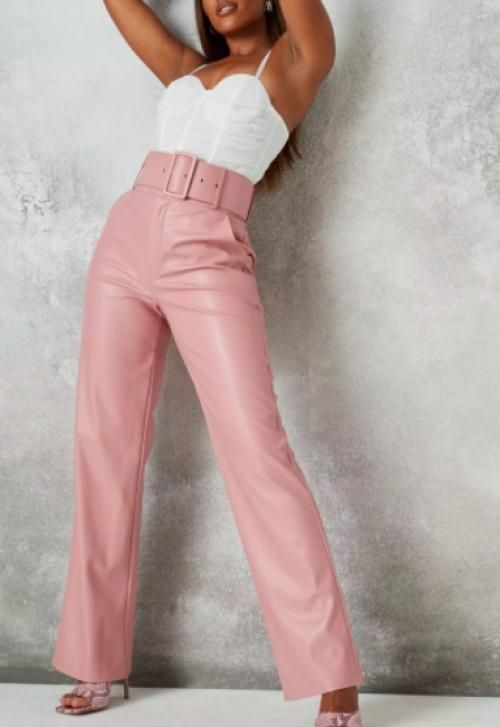 Missguided - Pantalon cuir évasé