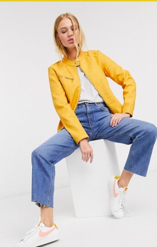 Only - Blouson similicuir jaune