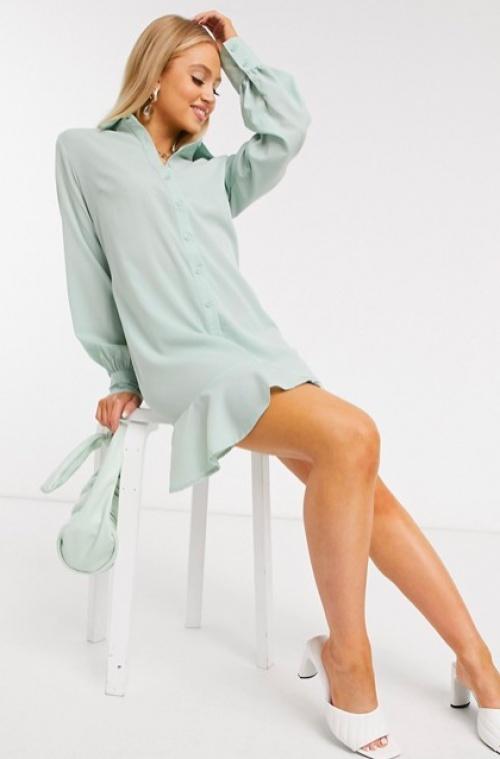 Missguided - Robe chemise volantée