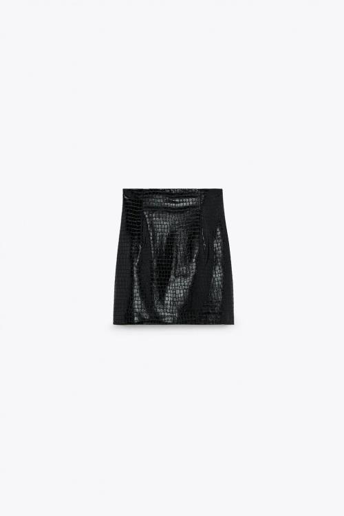 Zara - Mini jupe en cuir synthétique