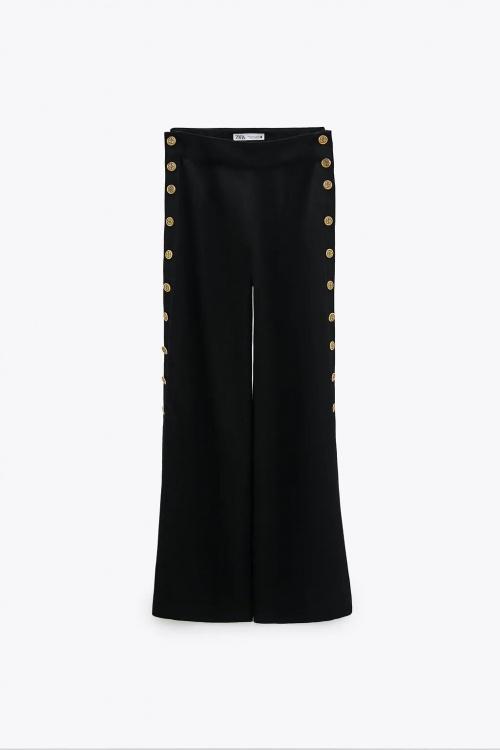 Zara - Pantalon large à boutons