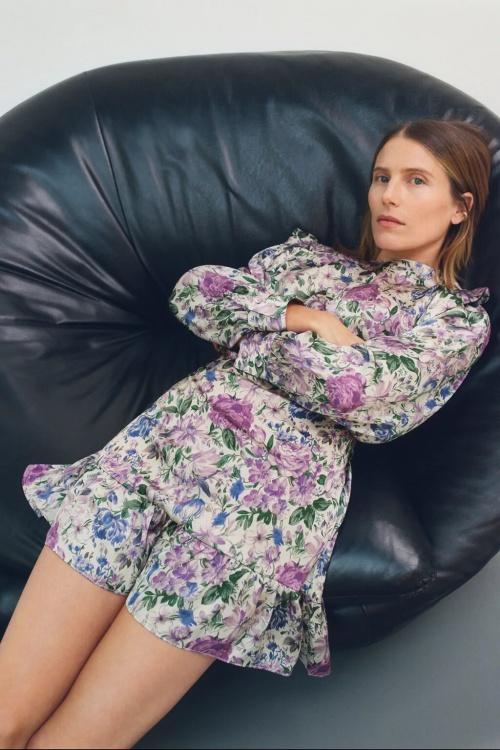 Zara - Robe en satin imprimée