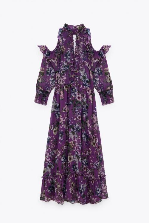 Zara - Robe longue à imprimé fleuri