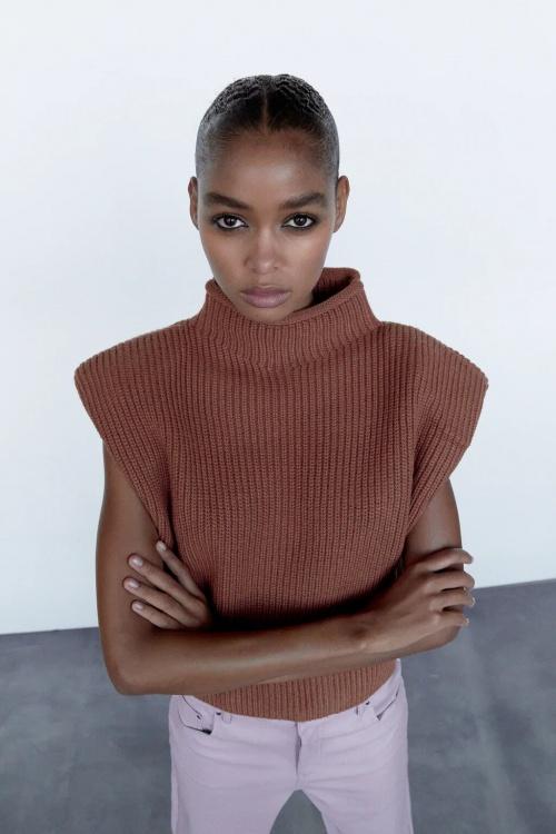 Zara - Top en maille avec épaulettes