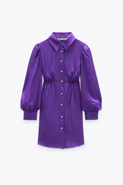 Zara - Robe chemise satinée