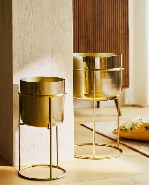 Zara Home - Pot de fleurs fer doré