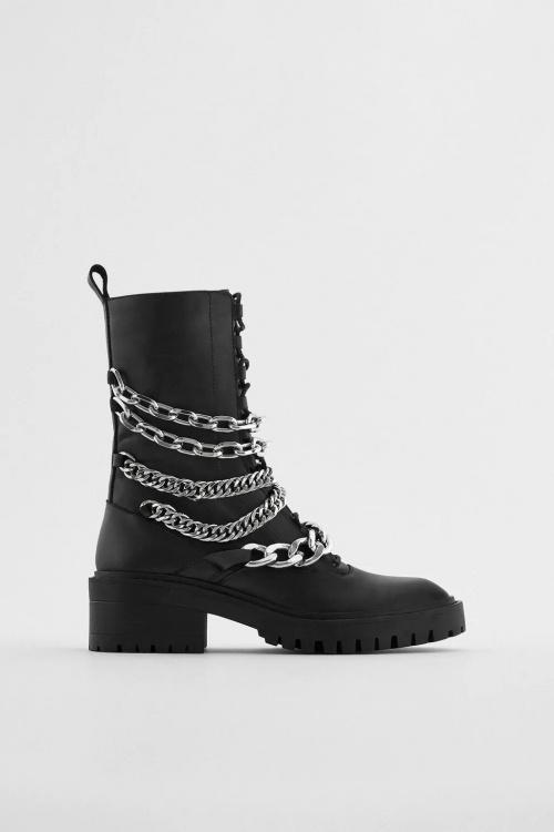 Zara - Bottines plates avec chaîne